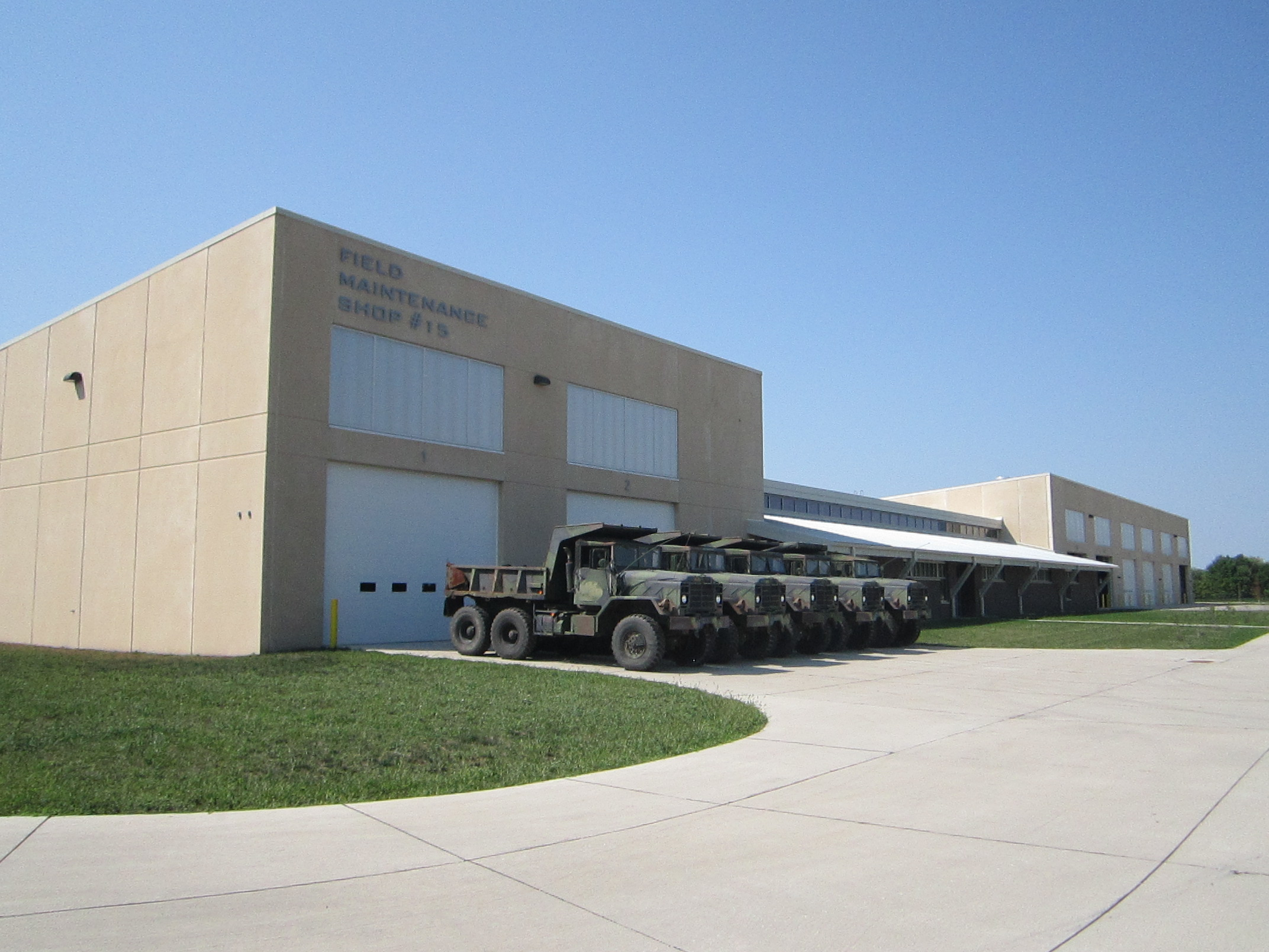 Exterior field maintenance shop at the Iowa Army National Guard in Middletown, Iowa