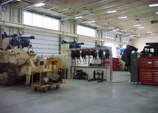 Interior garage space at the Iowa Army National Guard
