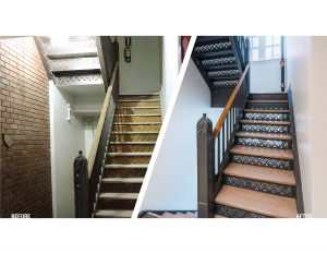 Before and After photos of the Edna Griffin stair case being restored