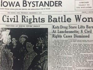 Black and White newspaper article declaring Edna Griffin has won her lawsuit against Katz Drug Store