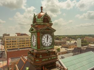 Webster County Courthouse Exterior Clock Tower with Copper Trim