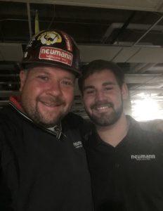 Pierce Gelhaus, Neumann Project Engineer, on construction site with Scott Richael, Neumann Superintendent